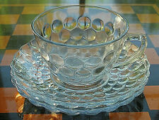 Depression Anchor Hocking Glass Blue Bubble Cup & 2 Saucers