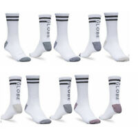 Globe Socks 5 Pack Carter WHITE Crew Assorted SIZE 7-11 Skateboard Sox