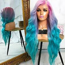 Women Medium Long Length Curly Hair Cosplay Gradient Colors Wigs Costume Coscrop