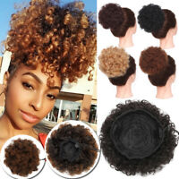 Real Fantasy Afro Hair Bun Kinky Curly Ponytail Puff Drawstring Extension Updo J