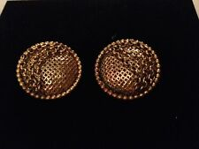 ISABEL CANOVAS Fabulous Large Bronze Tone Clip On Earrings