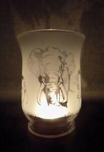 "New ""Elephant"" Hand Etched Hurricane Vase/Candle Lamp - Beautiful & Unique Gift"