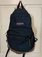 Jansport Navy Blue BACKPACK Suede Bottom 3 Pocket School Book Bag REPAIRED STRAP