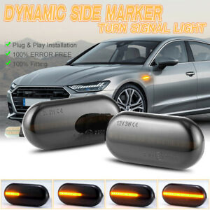 Smoked LED Dynamic Side Marker Turn Signal Lights For Dacia Nissan Renault Opel