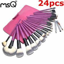 24Pcs Purple Professional Makeup Brushes Wood Handle Cosmetic PU Leather Bag MSQ
