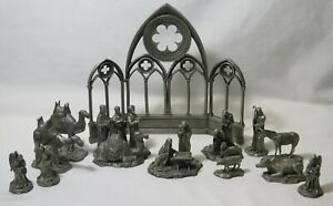 Franklin Mint Fine Pewter 13-Piece Nativity Set W/ Boxes