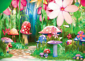 7x5ft Colorful Fairytale Flower Mushroom Forest Vinyl Backdrop Photo Background