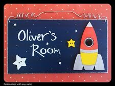Space Theme Rocket Name Plaque Personalised Child's Bedroom Door Spaceship Sign