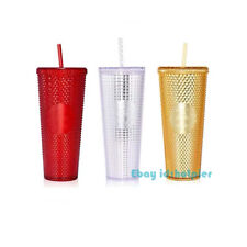 Starbucks 2020 China Studded Water Cup Golden Red Silver Grid Tumbler Limited