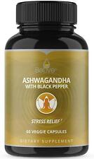 Organic Ashwagandha Capsules - Extra Strength Pills for Stress Relief - BeLive