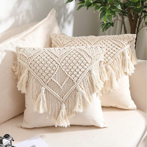 4 Pcs Macrame Cushion Throw Pillow Covers Case Decorative for Bed Sofa 18 inch