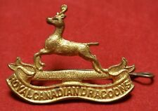 "WWII ROYAL CANADIAN DRAGOONS CAP BADGE - 1 7/8"" X 1 3/8"" - Nice"