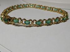 14 kt Yellow Gold Green Color Natural Emerald Beryl Gemstone Tennis Bracelet