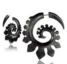 """PAIR IRON WOOD FAKE CHEATER PLUGS CARVED SPIRALS TRIBAL 2"""" INCH GAUGES GAUGE"""