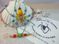TreasuresbyTiziana® OOAK Tropical Pineapple Ladybug Flower Spider Ornament Gift