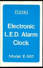 Rare Vintage Cosmo Electronic Alarm Clock Model E-501 Owner's Manual