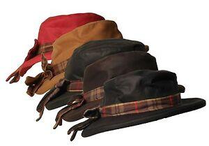 Walker & Hawkes Ladies Wax Riding Thelma Bow Knot Hat W Tartan 100% Waxed Cotton