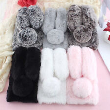 Cute Rabbit Doll Plush Cover Hairy Fur Fluffy Phone Case For SONY LG Asus Nokia