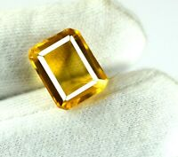 Emerald Cut Madeira Yellow Citrine Gemstone 100% Natural 7-9 Ct AGI Certified
