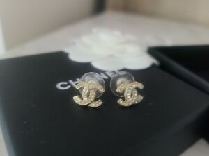 CHANEL Gold CC Logo PINK Crystal Stud Earrings- RARE ❤️