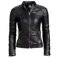 Ladies Women Black Slim Fit Biker Motorcycle Style Real Leather Jacket