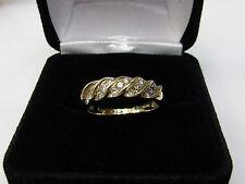 10K Yellow Gold Round Diamond Wedding Band Ring Sz 7 Scalloped Twist Design