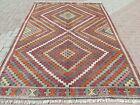"""Vintage Turkish Nomads Rug, Large Kilim, Teppich 76""""X110"""" Area Rug, Kelim Carpet"""
