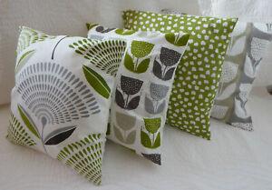 "4 Cushion Covers 16"" inch Lime Green Grey Mixed Scandi Style Handmade 40cm"