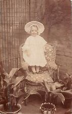 Small girl on wicker chair, Gladys, RP, H.A.Babbs, Morton, aspidistras, Q2111