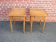 PAIR STATTON SOLID CHERRY ONE DRAWER END LAMP TABLES