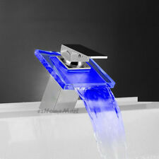 Bathroom Basin Faucet  Waterfall Color Changing Square Glass Spout Mixer Tap