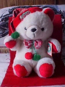 """Vintage 1990 Male Red/Green Christmas K Mart Bear With Tag Co 20"""" Santa's Club"""