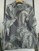 TOMMY BAHAMA XL 100% Silk Button Front Hawaiian Shirt Mens Gray Palm Trees EUC