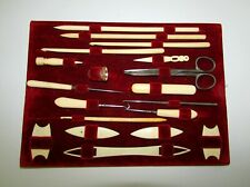 ANTIQUE 19th C UNIQUE HAND CARVED TURNED SEWING KNITTING CROCHET TOOL SET 19 P