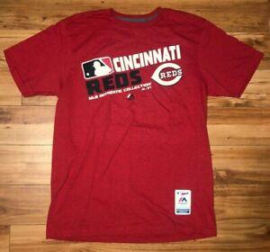 Mens Majestic MLB Cincinnati Reds Baseball Shirt Red Sz L New