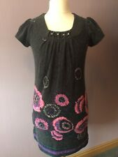 Quiz Grey Short Sleeved Tunic Dress with pink floral detail Size 10/38*