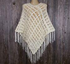 Womens New Off White Cream Hand Crochet Poncho Sweater Boho Hippie