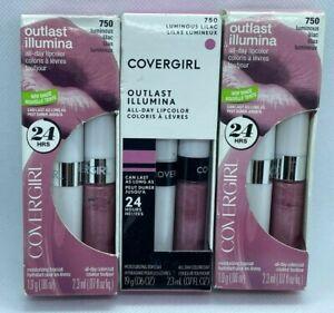 NEW (3-PK) Covergirl Outlast All-Day Custom Lip Color 750 LUMINOUS LILAC Purple