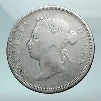 1891 STRAITS SETTLEMENTS UK Queen Victoria Genuine Antique 50 CENT Coin i81072
