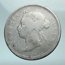 1891 STRAITS SETTLEMENTS UK Queen Victoria Genuine Antique 50 CENT Coin i81072