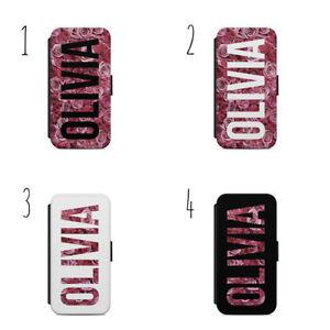 Personalised Initials Name Rose Pink Flowers b47 Flip Wallet Case IPhone Samsung