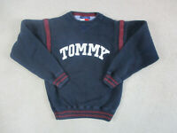 VINTAGE Tommy Hilfiger Sweater Adult Medium Blue Red Spell Out Logo Mens 90s