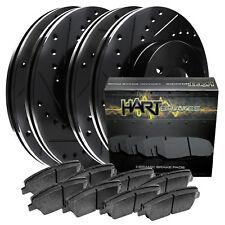 [FRONT+REAR KIT] Black Hart *DRILLED & SLOTTED* Brake Rotors +Ceramic Pads C1435