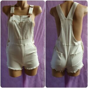 White Denim Overalls Girls Size 14 Or Womens Size 6