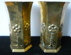 Keswick School Of Industrial Art Pair Of Art Nouveau Brass Vases C1910