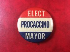 SCARCE VINTAGE PIN BUTTON BADGE 1969 Mario PROCACCINO ELECT MAYOR NEW-YORK CITY