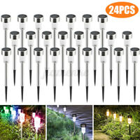 24PCS Stainless Steel LED Solar Lawn Path Light Garden Landscape Lamp Waterproof