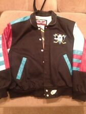 Jeff Hamilton 1993 NHL Mighty Ducks leather & cotton varsity jacket / mens M
