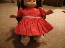handmade bitty baby girl Valentine's red dress w white hearts/panties/socks  V1