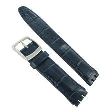 20mm Genuine Leather Alligator Grain Padded Navy Blue Watch Band Fits Swatch
